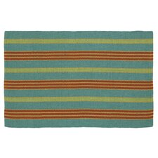 Fiesta Teal Striped Indoor/Outdoor Area Rug
