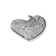 Chandi Court Sterling Silver Heart Shaped Pendant with Cubic Zirconium