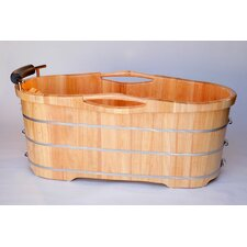 "61"" x 28"" Free Standing Oak Wood Bathtub with Cushion Headrest"