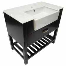 "35.25"" Single Farmhouse Sink Bathroom Vanity Set with Drawer"