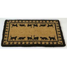 Cat Walking Border Outdoor Coir Doormat