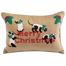 Holiday Siamese Cats Applique Pillow