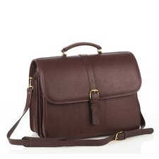 Double Compartment Leather Briefcase
