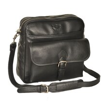 Top Zipper Shoulder Bag with Front Pockets