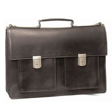 Leather Briefcase with Two Front Pockets