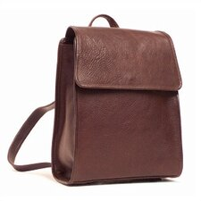 Leather Backpack with Magnetic Snap Closure