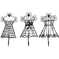 3 Piece Metal Dress Shape Wall Hook