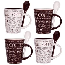 Coffee Swirl 10 oz. Mug and Spoon (Set of 4)