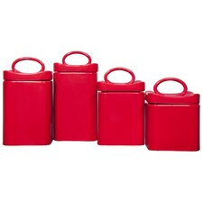 4 Piece Wavy Square Canister Set (Set of 4)
