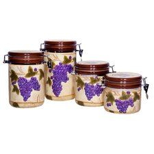 4 Piece Tuscan Grape Canister Set