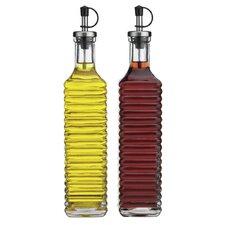 Storage Essential 17 oz. Square Ribbed Oil and Vinegar Bottle