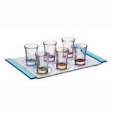 1.25 oz.. 7 Piece Color Shot Glasses with Tray