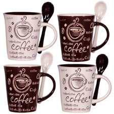 Coffee 10 oz. Mug and Spoon (Set of 4)