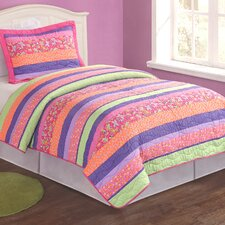 Stripes and Flowers 2 Piece Twin Quilt Set