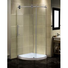 Completely Frameless Round Sliding Shower Door Enclosure with Low-Profile Base