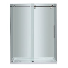 Completely Frameless Sliding Shower Door with Low-Profile Base