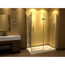 Pivot Door Frameless Shower Enclosure including Shelving