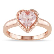 Silver Heart Cut Morganite Ring