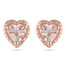 Heart Cut Morganite Stud Earrings