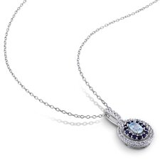Sterling Silver Topaz Cable Chain Pendant