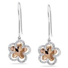 Round Cut Diamond Floral Drop Earrings