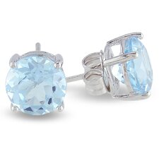 <strong>Amour</strong> Round Cut Topaz Solitaire Earrings