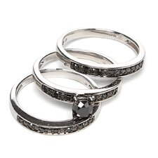 Sterling Silver Round Cut Diamond Bridal Set Ring
