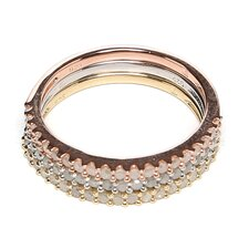 Tri-Color Silver Round Cut Diamond Stacking Ring