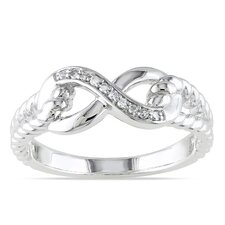 <strong>Amour</strong> Sterling Silver Round Cut Diamond Ring