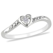 <strong>Amour</strong> Sterling Silver Heart Diamond Ring