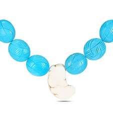 Turquoise Bead Necklace with White Tone Chain and Lobster Clasp