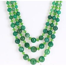 Round Dark Green Agate and Green Crystal Beads Necklace with Triple-Strand
