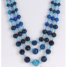 Triple-Strand Necklace in Dark Blue and Ocean Blue
