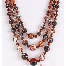 Triple-Strand Necklace in Mixed Red-Brown