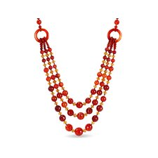 Triple-Strand Necklace in Red / Orange