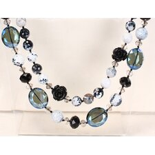Mixed Black-Grey-White Agate and Crystal Beads Necklace with Double-Strand