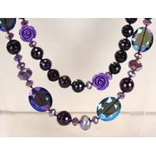 Round Dark Purple Agate and Crystal Beads Necklace with Double-Strand