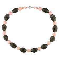 Facetted Smokey Quartz Beads Necklace with Silver Ball Clasp