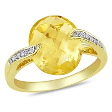 Silver Yellow Rhodium Plated Diamond and Yellow Citrine Fashion Ring