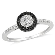 White Gold Black Rhodium Plated Ring Diamonds Fashion