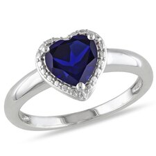 Sterling Silver Created Blue Sapphire Fashion Ring