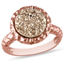 <strong>Amour</strong> Silver Pink Plated Round Rose Color Druzy Gemstone Ring