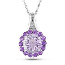 Rope Chain Round Cut White Diamonds, Gemstone Fashion Pendant