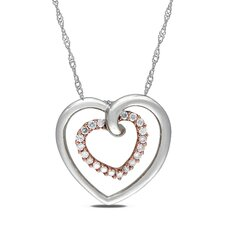 White and Pink Gold  Rope-chain Quarter Round-cut  A Quarter Carat of Diamond Heart Pendant