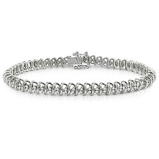 <strong>Amour</strong> Sterling Silver Round Cut Diamond Bracelet
