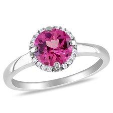 White Gold Round Cut Gemstone Fashion Halo Ring