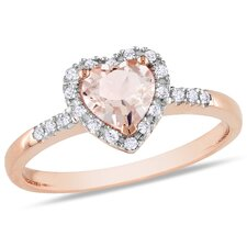 Pink Gold Heart Cut Morganite Halo Ring