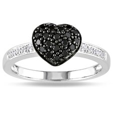 <strong>Amour</strong> Sterling Silver Round Cut Diamond Heart Ring