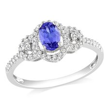 White Gold Oval Cut Tanzanite Halo Ring