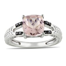 Sterling Silver Cushion Cut Morganite Multi Stone Ring